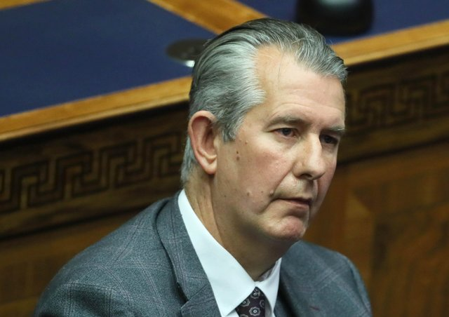 DUP leader Edwin Poots during the nomination of Paul Givan as First Minister, in the Stormont Assembly in Parliament Buildings in Belfast. Picture date: Thursday June 17, 2021.