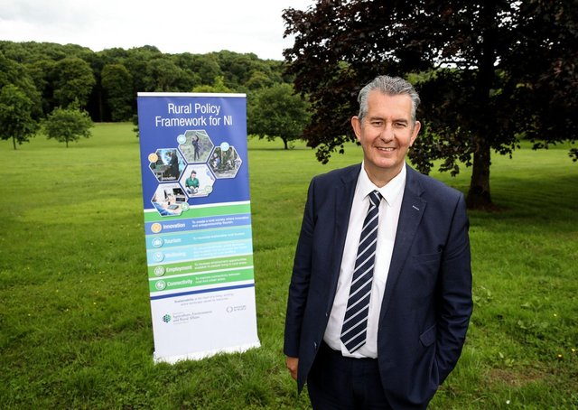 Rural Affairs Minister Edwin Poots MLA pictured visiting Ballyronan Marina on Lough Neagh and CAFRE's Loughry Campus as part of a day of events to launch the Rural Policy Framework consultation .