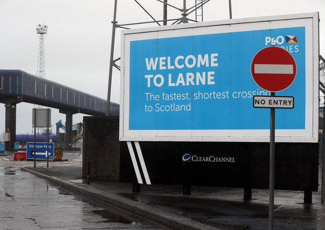 Signage at Larne Port. The DUP has rejected claims it is whipping up tensions over Irish Sea trade in an effort to get Brexit's contentious Northern Ireland Protocol ditched. Physical inspections on goods entering Northern Ireland from Great Britain, which are required under the protocol, have been suspended amid threats and intimidation of staff. Picture date: Wednesday February 3, 2021.
