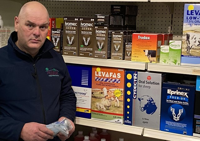 Pat Campbell, Registered Animal Medicines Advisor, assists in the supply of anthelmintics to clients.