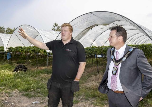 Foxberry Fruit Farm Director, Philip Fox and Lord Mayor of Armagh City, Banbridge and Craigavon, Alderman Glenn Barr.