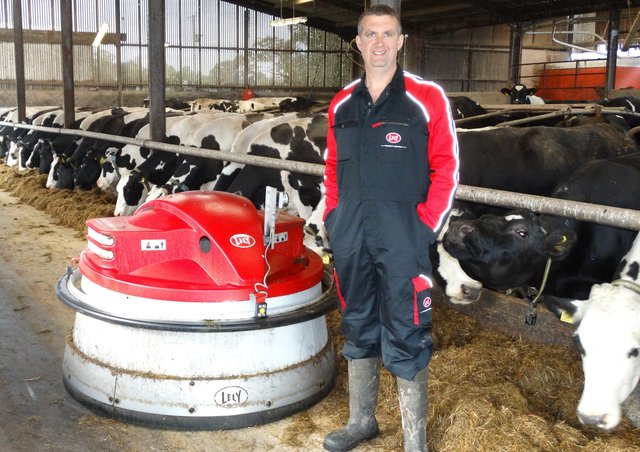 Limited feed space on Andrew Knox's farm Dungannon is overcome by the Lely Juno pushing feed up every hour