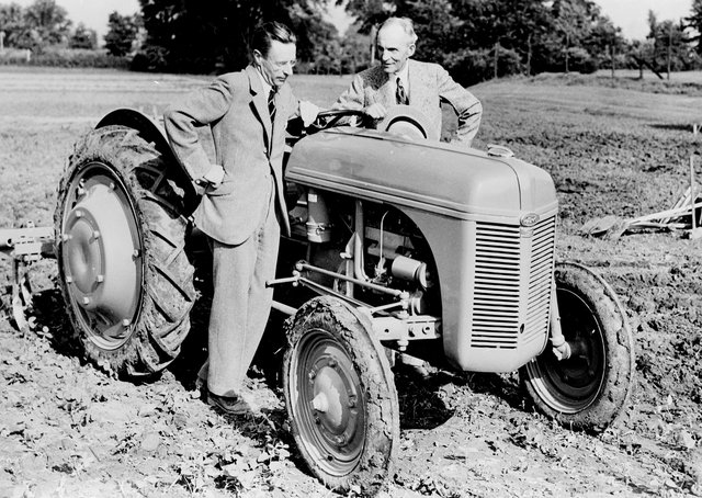 Harry Ferguson and Henry Ford with an early Massey Ferguson tractor. Picture: National Museums Northern Ireland
