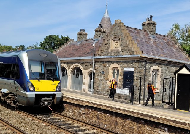 A Bangor bound train arrives at the old Helen's Bay train station in July 2021. Picture: Darryl Armitage