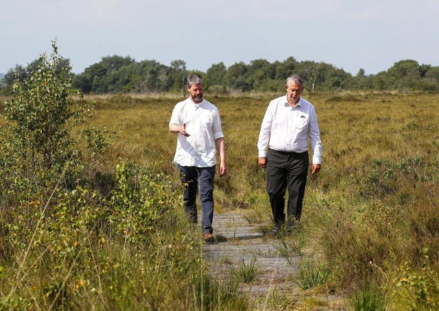 Environment Minister Edwin Poots is pictured with Matthew Aikenhead, soil scientist at the Hutton Institute at a recent visit to Peatlands Park, Dungannon ahead of International Bog Day on 25 July.