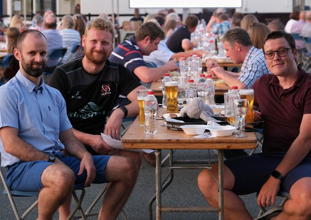 Richard Cummings, Dungannon; David Irwin, Benburb and Ryan Pitts, Benburb enjoying the Holstein NI Charity Auction and BBQ in Dungannon. Photograph: Columba O'Hare/ Newry.ie