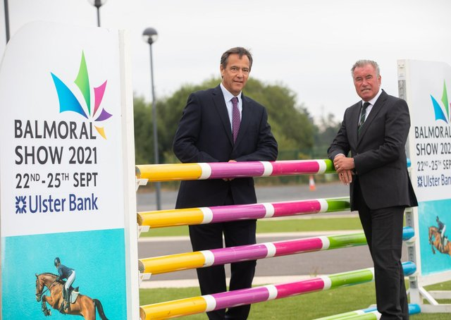 The 152nd Balmoral Show in partnership with Ulster Bank was launched at Balmoral Park on Wednesday 28th July 2021. Cormac McKervey, Senior Agriculture Manager, Ulster Bank joins Dr. Alan Crowe, Chief Executive, RUAS to mark the 8 week countdown to the Show.