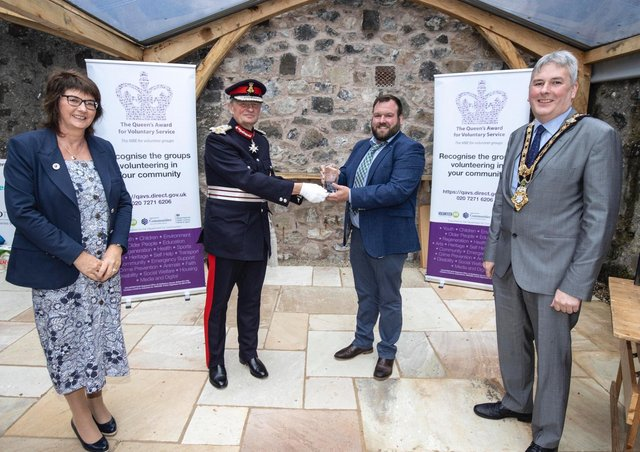 Pictured at a special event to mark the presentation of the Queen's Award for Voluntary Service (QAVS) to North Antrim Agricultural Association are Sandra Adair MBE (NI Representative on the QAVS Assessment Committee), Lord Lieutenant for County Antrim Mr David McCorkell, Robert Shannon (Chairperson of Ballymoney Show Committee) and the Mayor of Causeway Coast and Glens Borough Council Councillor Richard Holmes.PICTURE STEVEN MCAULEY/MCAULEY MULTIMEDIA