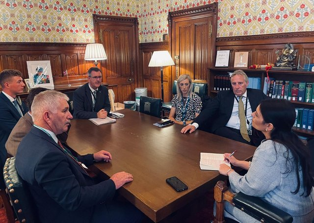 The delegation pictured during the meeting with the Home Secretary