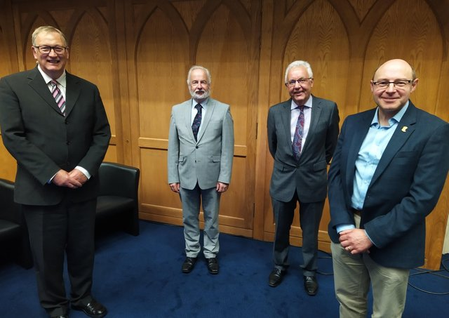 Pictured at the General Assembly of the Presbyterian Church of Ireland, taking place in Belfast, are (left to right) the Chairman of the Council for the Mission to Ireland, The Right Reverend Frank Sellar, the Secretary Acting Council Reverend Jim Stothers and PCI Chaplain Secretary Reverend Robert Bell with new PCI Rural Chaplain Reverend Kenny Hanna.